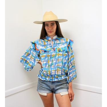 Geometric Blouse // vintage 80s 1980s boho hippy high waist blue white dress top shirt hippie Diane Freis style // O/S by FenixVintage