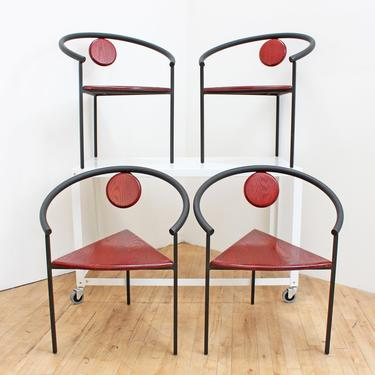 Vintage Memphis Dining Chairs Stacking Michele de Lucchi Style Accent Tripod Triangle Geometric 80s Steel Wood Post Modern Minimalism by 330ModernAntique