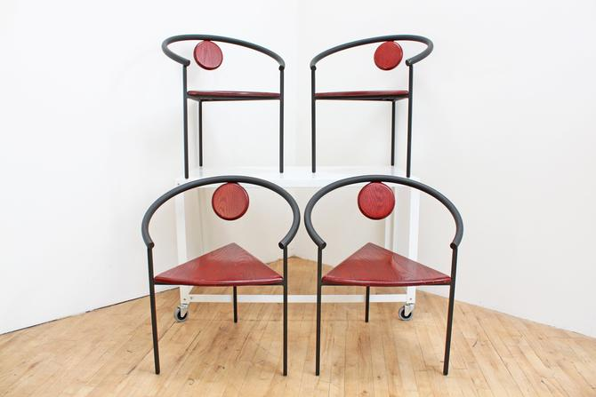 Vintage Memphis Dining Chairs Stacking Michele de Lucchi Style Accent  Tripod Triangle Geometric 80s Steel Wood Post Modern Minimalism by ...