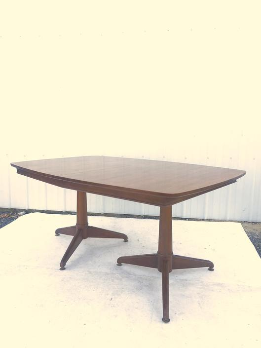 Mid Century Walnut Dining Table with 2 Leafs