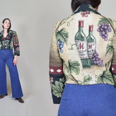 Vintage Wine Print Tapestry Jacket | Winery Tapestry Jacket by WisdomVintage