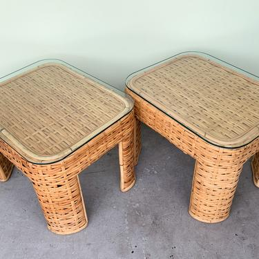 Pair of Woven Rattan End Tables