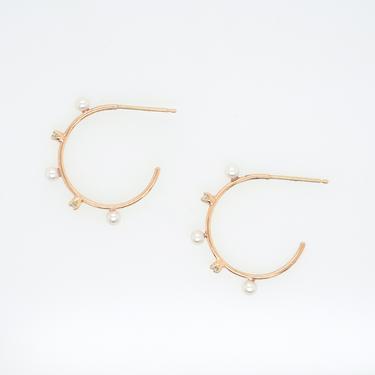 Freshwater Pearl and Diamond Medium Hoop Earrings