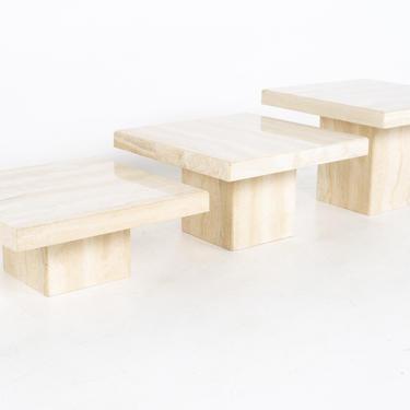 Mid Century Italian Travertine Marble Coffee Table Set - 3 Piece - mcm by ModernHill