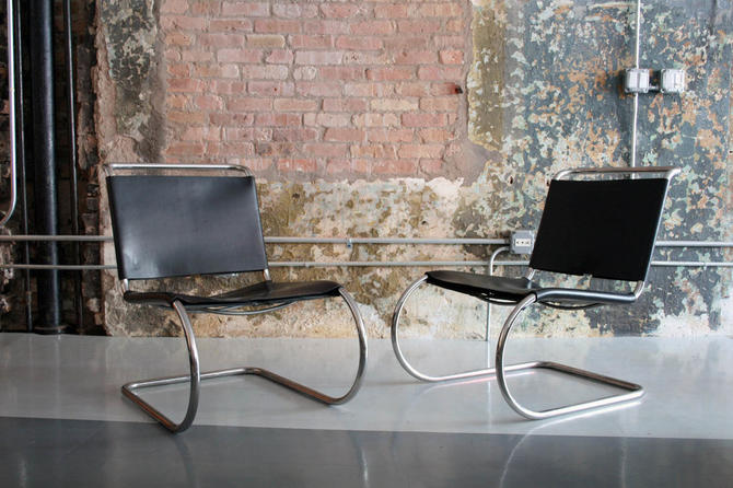 Pair of vintage Mies Van Der Rohe 'MR30' lounge chairs in leather