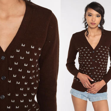 70s Cardigan Sweater -- Brown Sweater Geometric Print Button Up 1970s Preppy Boho Sweater Bohemian Extra Small xs by ShopExile