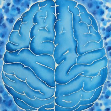Big Blue Brain  -  original watercolor painting - neuroscience art by artologica