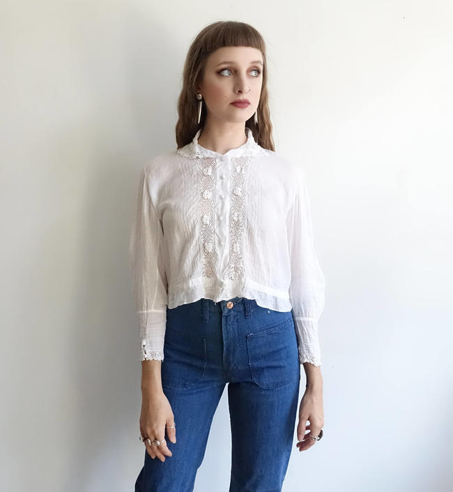 c8c988f933acd Antique Edwardian White Cotton Blouse with Crochet and Embroidery ...
