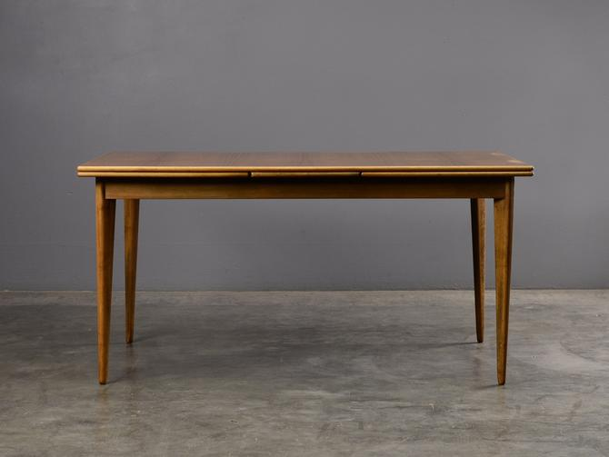 Mid Century Swedish Dining Table Expanding Dux Walnut by MadsenModern