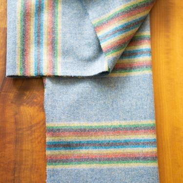WOOL RAINBOW SCARF - handcrafted with Pendleton Wool Serape - Light Blue by CovetModernDesign