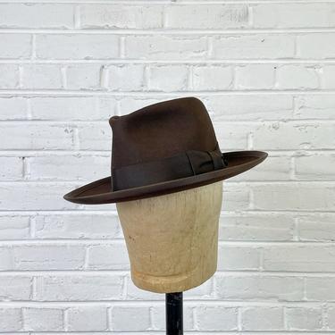 Size 7 Vintage 1940s 1950s Brown Fur Felt Fedora by Adam by BriarVintage