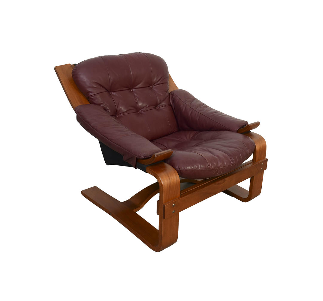 Leather Lounge Chair Bentwood Danish Modern Mid Century