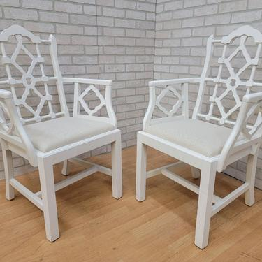 Mid Century Frances Elkins Style White Chinoiserie Chairs - Pair