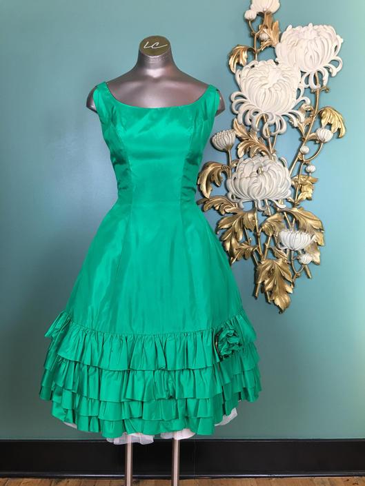1960s party dress, vintage 60s dress, green satin dress, Emma Domb dress, 1960s formal, vintage prom, ruffled hem, 26 waist, mrs maisel by BlackLabelVintageWA