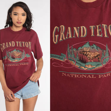 Grand Teton Shirt 90s Retro Tee Moose National Park Hiking Tshirt Animal Nature Shirt 80s Vintage Graphic T Shirt Medium Large by ShopExile