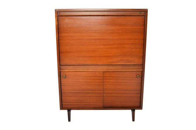 English Mid Century Modern Beaver + Tapley Drop Front Secretary Desk in Mahogany by MidCenturyMobler