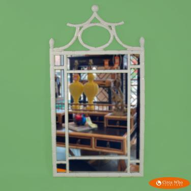 White Pagoda Faux Bamboo Mirror