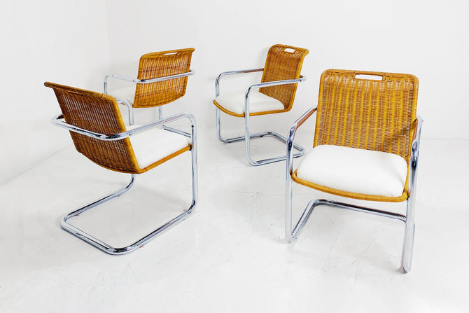 Rattan and Chrome Chairs by BetsuStudio