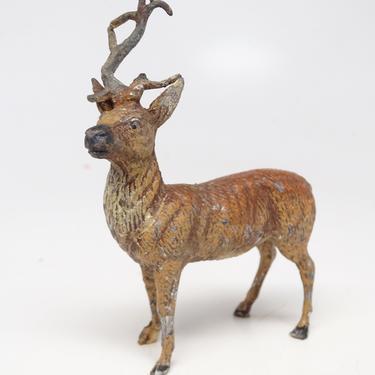 Antique German Metal Reindeer with Broken Antler, Hand Painted Toy Lead Deer for Christmas Putz or Nativity by exploremag