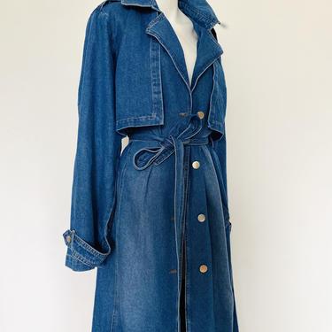 90's vintage oversize denim Coat, retro jean jacket, long denim duster coat, oversized jean jacket, unisex women's belted long trench coat by ShopRVF