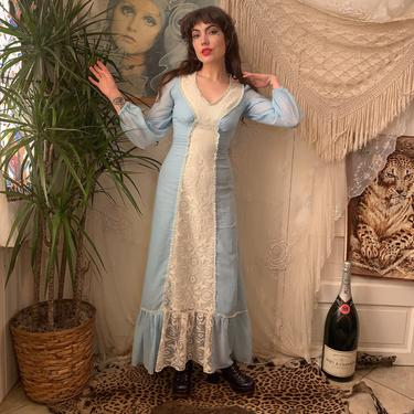 70's PRINCESS MAXI DRESS - light blue - white lace trim - empire waist - x-small by GlamItToHell