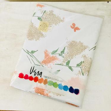 Vintage Vera Neumann Rectangle Vinyl Tablecloth (1979) Lilac Time 52x90 Peach Flowers Butterflies Table 1970s 80s Tablecloth by AuntyEntitysVintage