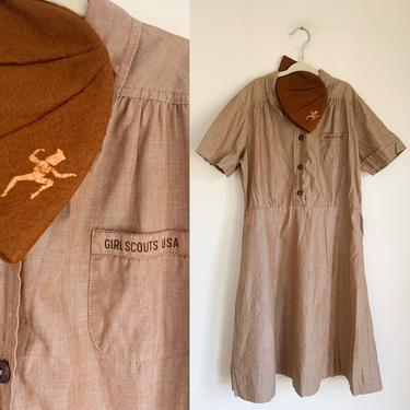 Vintage 1950s/60s Girl Scout Brownie's Uniform Dress + Hat // youth 12-14 / lady's M by MsTips
