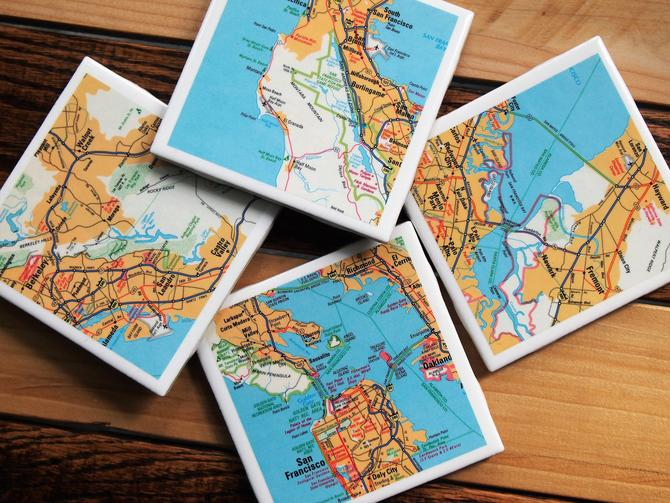 1990 San Francisco California area Handmade Repurposed Vintage Map Coasters - Set of 4 - Ceramic Tile - Repurposed 1990s State Farm Atlas by allmappedout