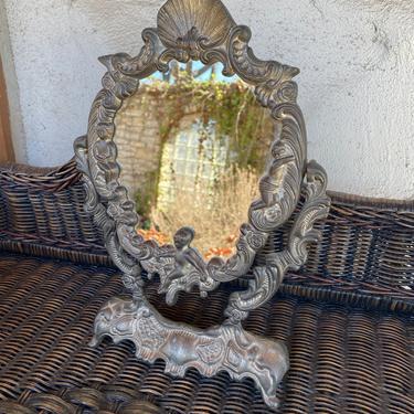 Vintage Art Nouveau Style Silver Tone Free Standing Vanity Mirror - Antique Victorian, Rococo, Art Deco Influences by PrimaForme