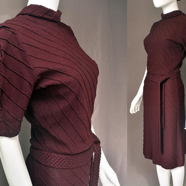 vintage 30s sweater dress 1930s pin up wiggle holiday party midi sweaterdress puff sleeves knit purple plum belted xs/small by levintagecult