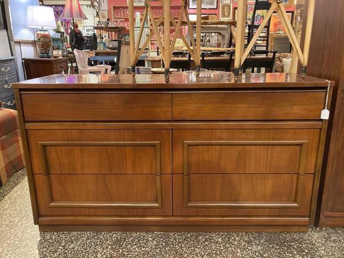 """6 drawer mid century modern laminate top dresser. 54"""" x 17.5"""" x 30"""""""