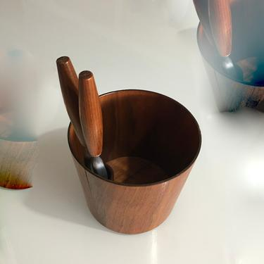 A Vintage Mid Century Teak Nut Container and Original Tool Signed Rainbow Sweden by modern2120