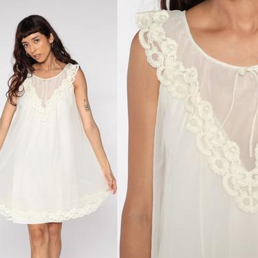 White Nightgown Lingerie Filmy Slip Dress 70s Babydoll Pinup Mini Nightie Tent Trapeze Filmy Chiffon Nylon Boho 1970s Vintage Small S by ShopExile