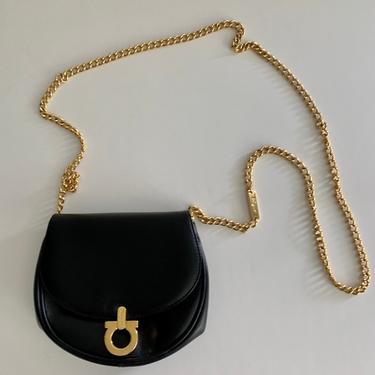 Salvatore Ferragamo black leather mini cross body/belt bag by MartinMercantile