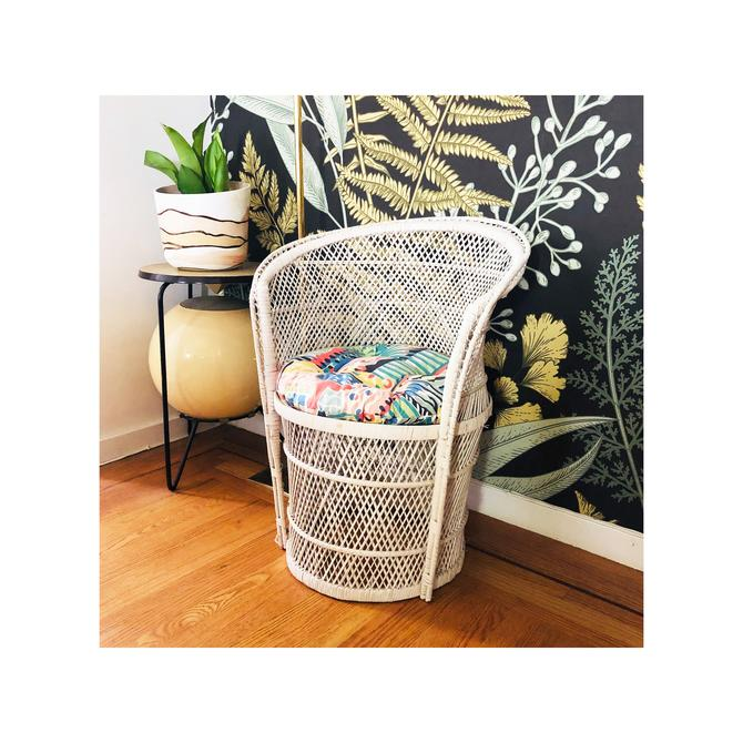 Vintage White Wicker Bucket Chair / FREE SHIPPING by SergeantSailor