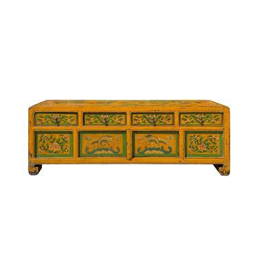 Orange Tibetan Floral Animals People Graphic TV Console Table Cabinet cs6145E by GoldenLotusAntiques