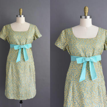 vintage 1960s   Beautiful Mint & Sparkly Gold Short Sleeve Holiday Cocktail Party Dress   Medium   60s dress by simplicityisbliss