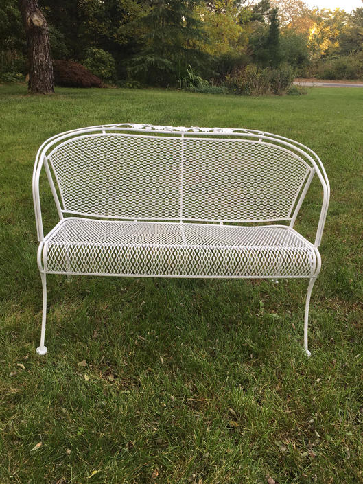 Vintage Woodard Patio Bench Woodard Settee Daisy Bouquet White Wrought Iron Bench Outdoor Bench Patio Seating Metal Bench By Capecodmodern From Cape Cod Modern Of Harwich Ma Cape Cod Attic