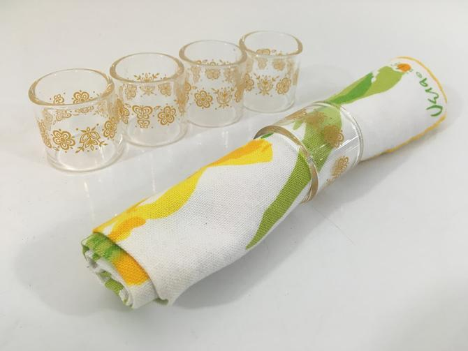Vintage Pyrex Butterfly Gold Napkin Rings Set of Five (5) Ring Yellow Flowers Leaves Glass Mid-Century Retro Made in USA Dinner Table Party by CheckEngineVintage