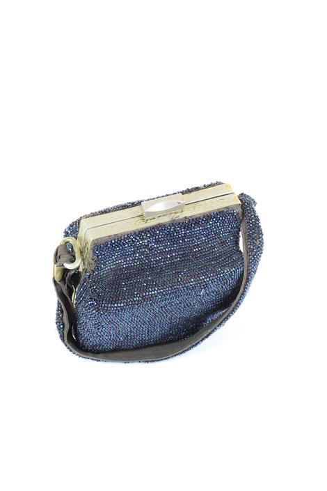 Vintage 1930s Beaded Box Purse Handbag Navy Blue Sequins by WalkinVintage