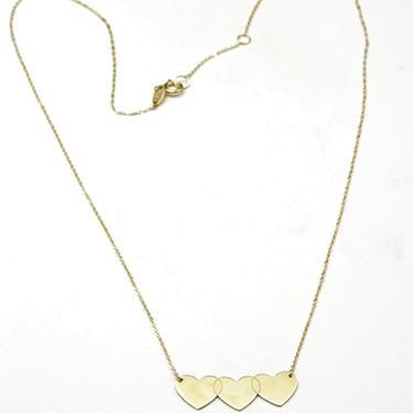 "14k Gold Triple Heart Necklace Pendant Simple Dainty Cable Chain 17"" - 18"" Minimalist by HouseofVintageOnline"