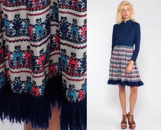 de4f0ae2dce1 60s Mini Dress Mod 70s Boho Geometric Print Dress FRINGE TRIM Gogo High  Waist Vintage Blue
