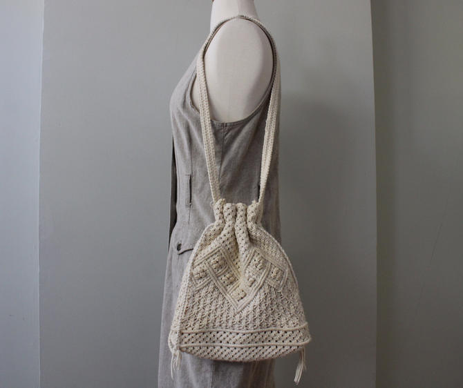 Vintage 70s Macrame Off White Long Strap Drawstring Purse by NeonSkyVintageMN