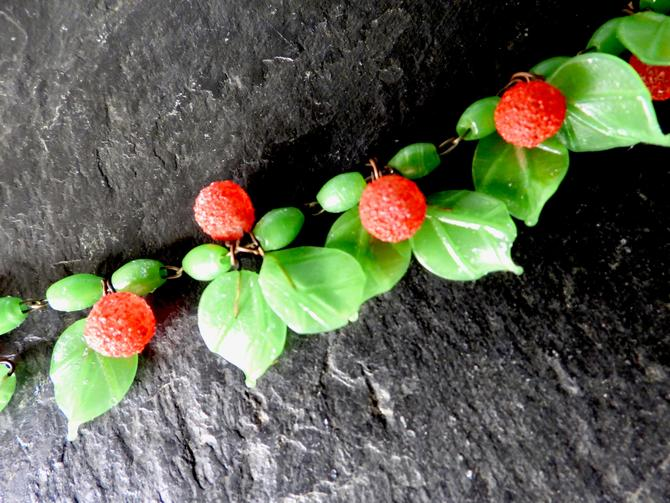 Art Deco Glass and Sugar Glass Leaves and Fruit Necklace by LegendaryBeast