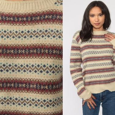 Wool Fair Isle Sweater 80s Cream WOOL Sweater Nordic Sweater Knit Striped Print Slouch 1980s Jumper Vintage Pullover Medium by ShopExile