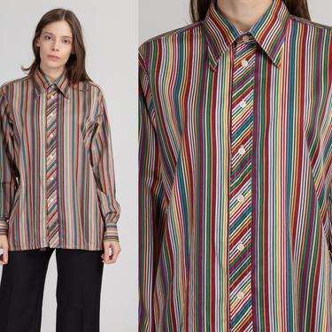 90s Brittania Rainbow Striped Shirt - Men's Large | Vintage Collared Long Sleeve Button Up Top by FlyingAppleVintage
