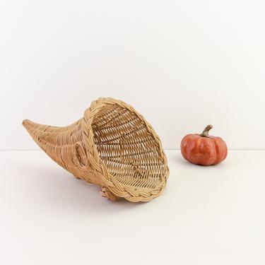 Vintage Wicker Cornucopia, Thanksgiving Table Centerpiece, Wall and Door Decor, Autumn Harvest Basket, Rattan Horn of Plenty, Fall Decor by PebbleCreekGoods