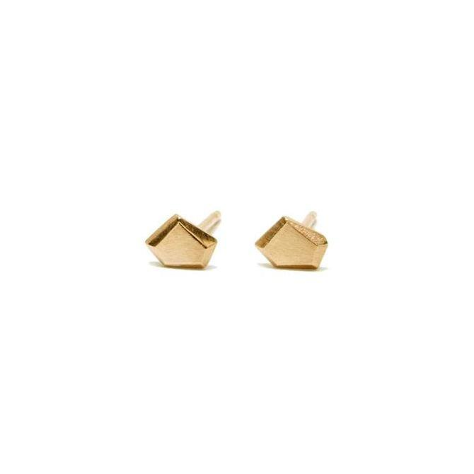 Thin Faceted Studs - 14k Yellow Gold