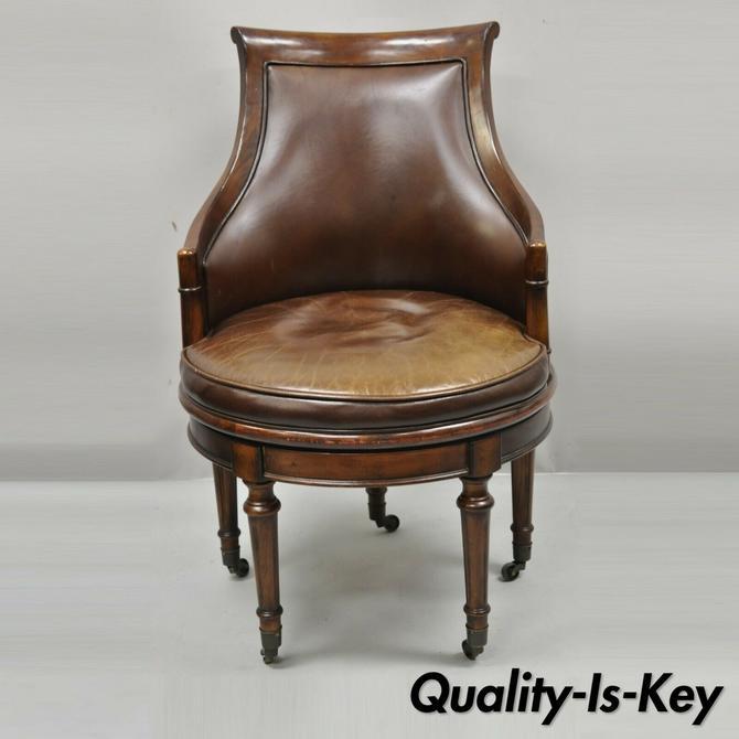 Lillian August Brown Leather Swivel Upholstered Empire Office Desk Vanity Chair