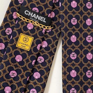 Vintage CHANEL CC LOGO Seashell Clam Monogram Tie Necktie by MoonStoneVintageLA